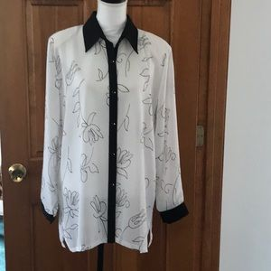 Vintage Clara S Sheer Button Down Blouse